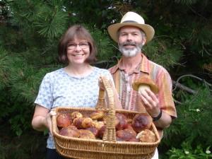 Dr. Kassenbrock and Dr. Pat Bedinger with a basket full of mushroom goodness!