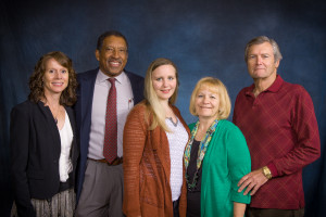 Professor Gregory Florant with Tracie Florant (left) and Melanie Richter (center) and donors Christine and William Richter at the 2015 College of Natural Sciences Scholarship Luncheon, October 15, 2015.