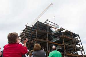 Colorado State University's College of Natural Sciences and Haselden Construction hold a Topping Out celebration for the new Biology building construction, May 6, 2016.